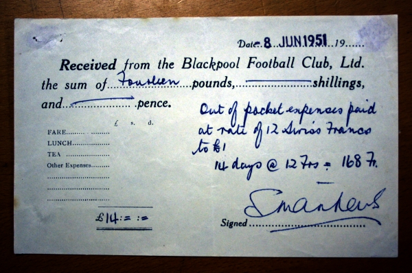 Blackpool FC Expenses Slip Signed By Stanley Matthews
