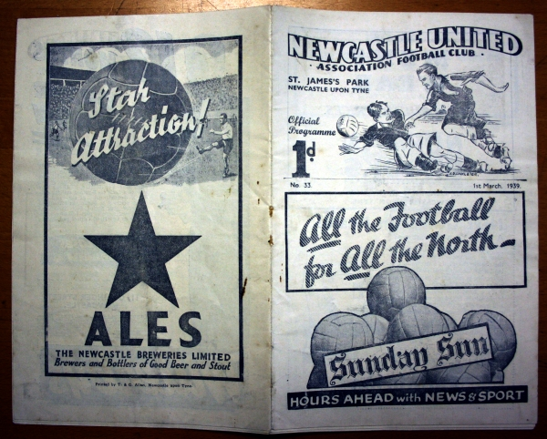 Newcastle v Spurs 1st March 1939 Programme