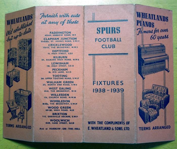 Tottenham Hotspur 1938/9 Fixture Card