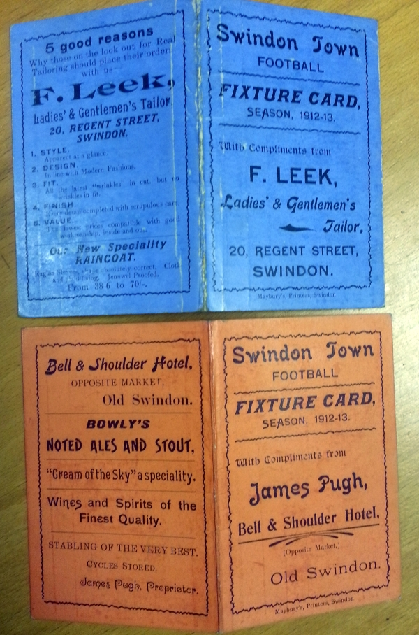 Swindon Town FC Fixture Cards 1912/13