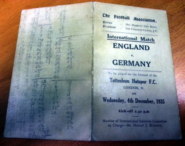 England v Germany 1935 Player Schedule