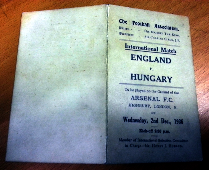 England v Hungary 1936 Player Schedule