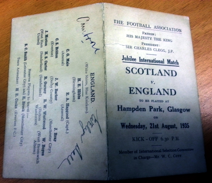 Scotland v England 1935 Player Schedule