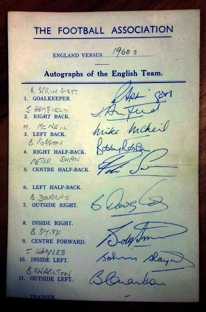 England v Northern Ireland October 1960 Autograph Card
