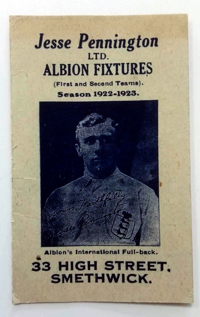 West Bromwich Albion 1922/3 Fixture List