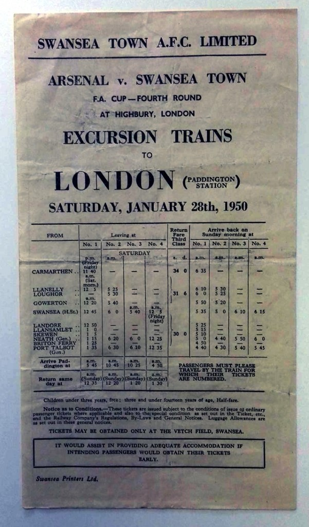 Arsenal v Swansea Town 1950 Rail Excursion Poster