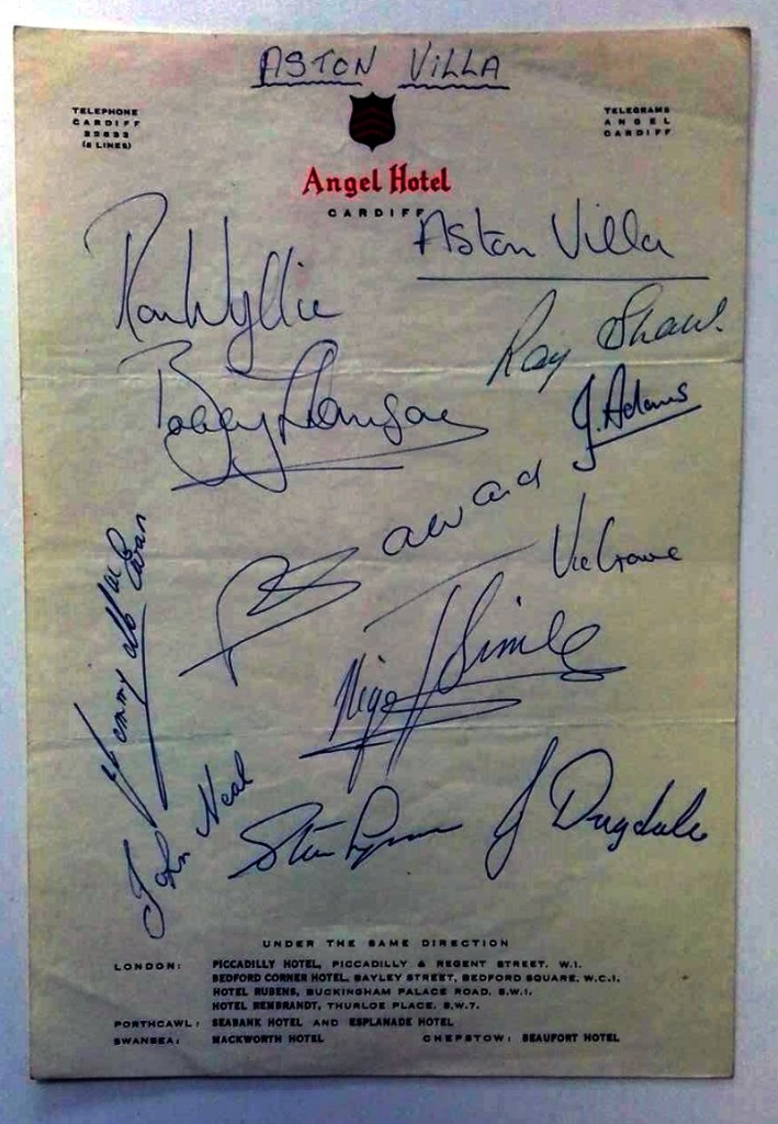 Aston Villa v Cardiff City September 1960 Autographs