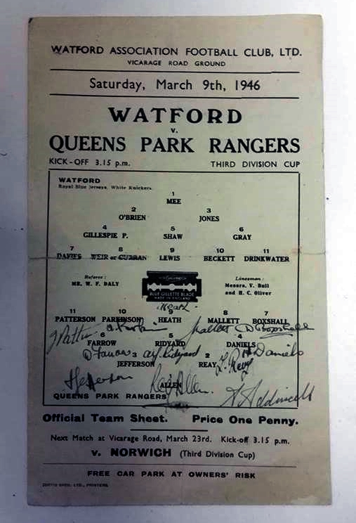 Signed Watford vs QPR 1946 Official Team Sheet
