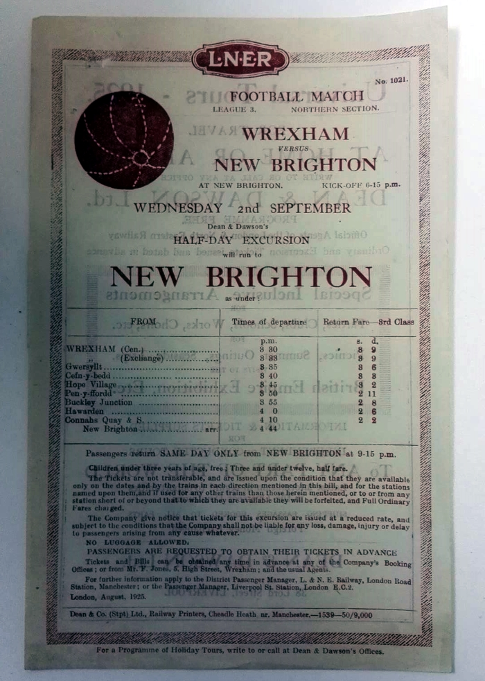 Wrexham v New Brighton 1925 LNER Poster