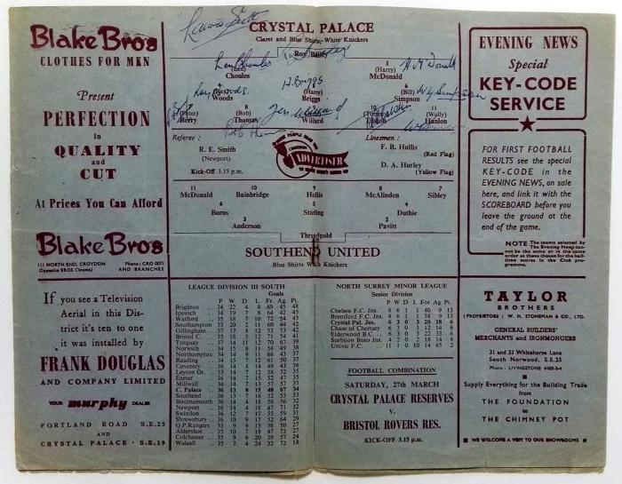 Crystal Palace v Southend United 1954 Signed Programme