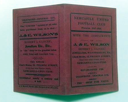 Newcastle United 1927/28 Fixture Card