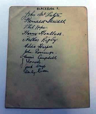 Blackburn Rovers 1924/5 FA Cup Semi Final Autographs
