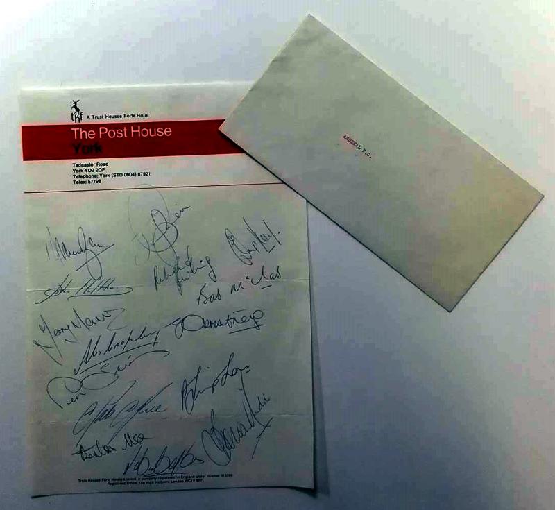 Arsenal Squad Signed Letterhead v York City, January 1975