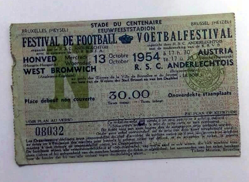Belgium Festival Of Football 1954 Ticket