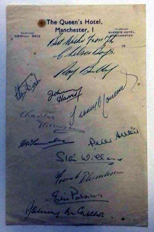 Chelsea Squad Signatures vs Manchester United, April 1955