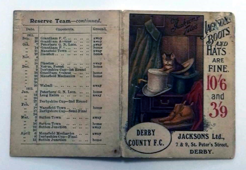 Derby County Fixture List 1911-12
