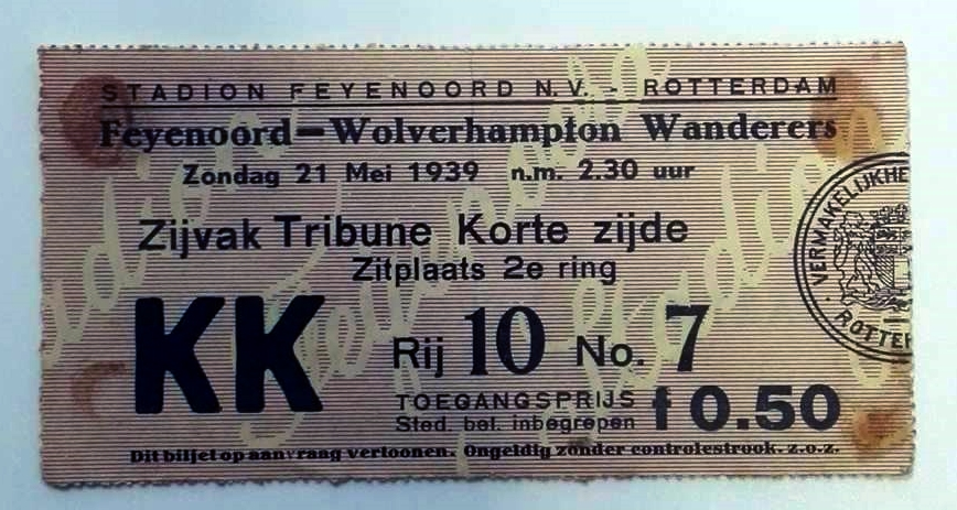 Feyenoord vs Wolves 21st May 1939 Ticket