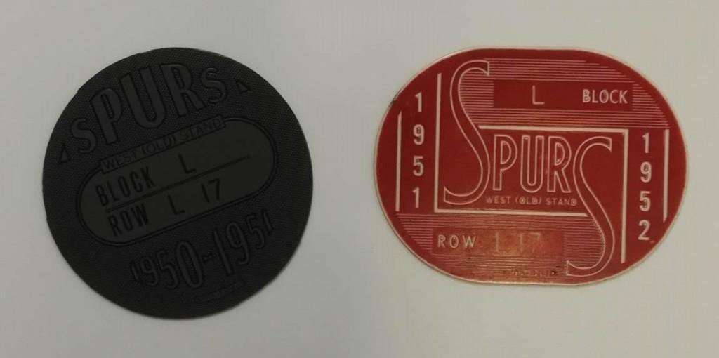 Spurs Season Ticket Tokens 1950-51 & 1951-52