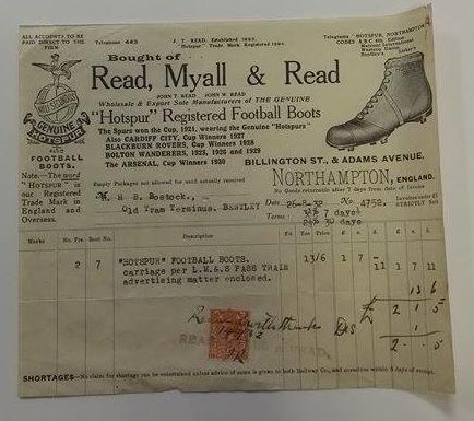 Hotspur Football Boots Billhead 1932