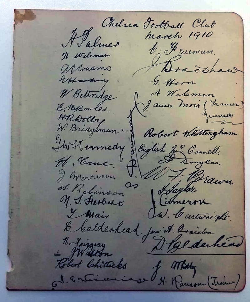 Chelsea FC March 1910 Autograph Card