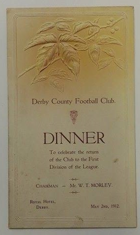 Derby County FC Promotion Dinner Menu 1912