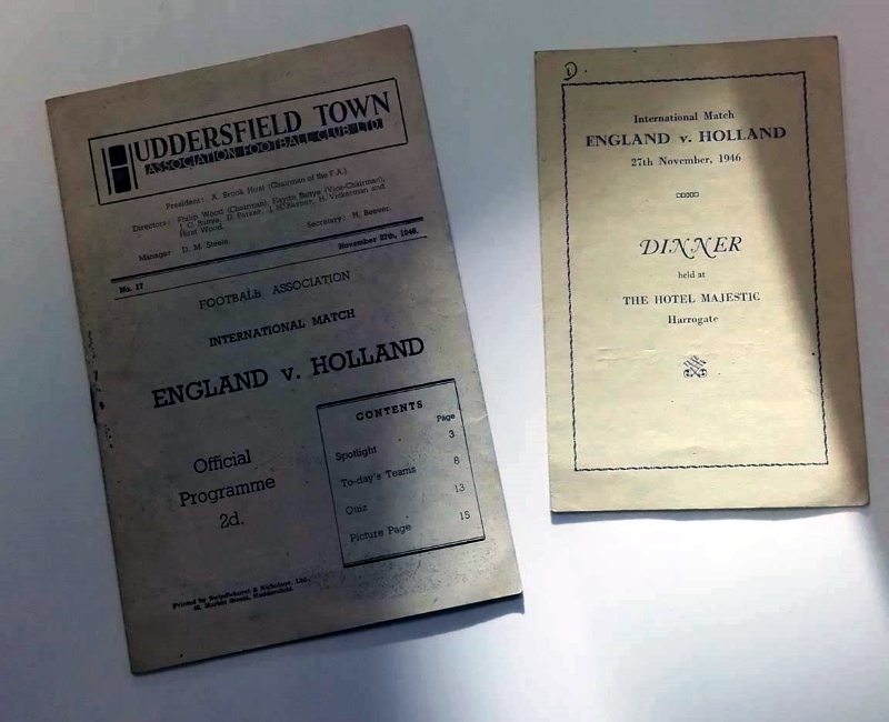 England v Holland Programme & Signed Menu 1946