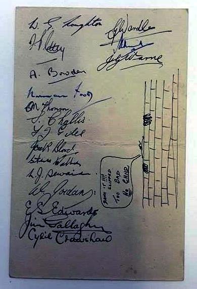 Exeter City Signed Dinner Menu 1945