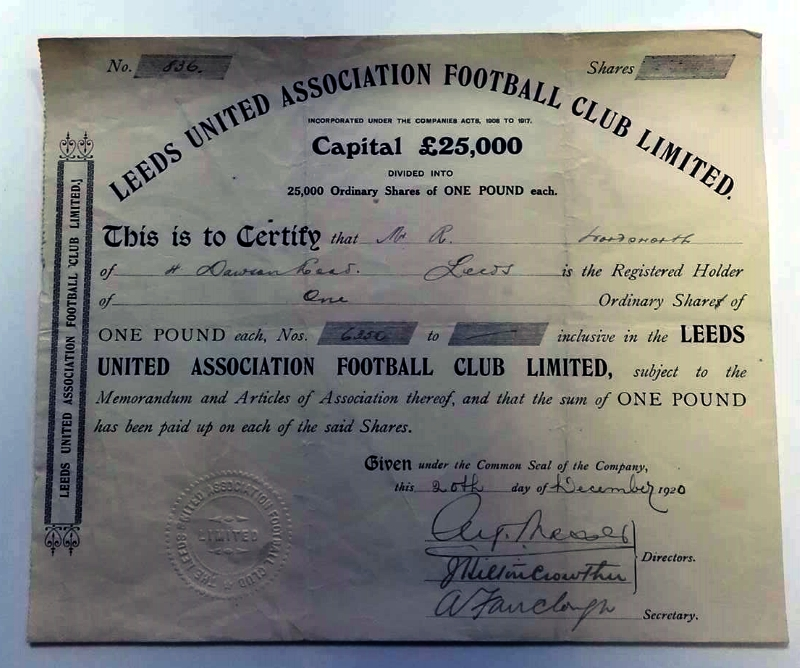 Leeds United AFC Share Certificate December 1920