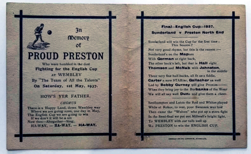 Preston North End Memorial Postcard 1937