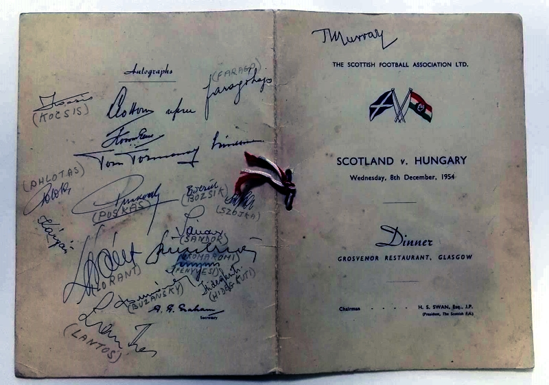 Scotland v Hungary 1954 Signed Menu