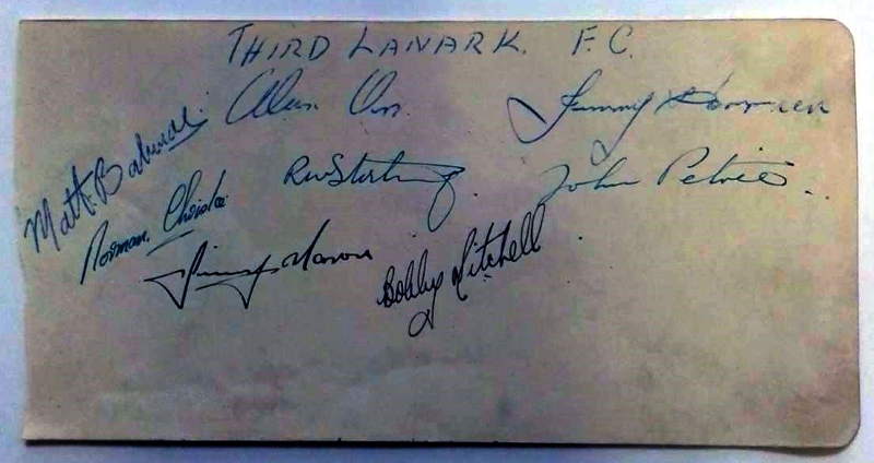 Third Lanark FC 1947/48 Autographs
