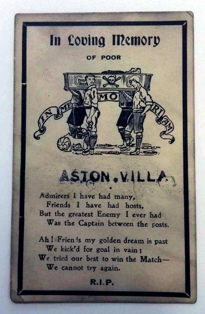Aston Villa Memorial Postcard 1902/03