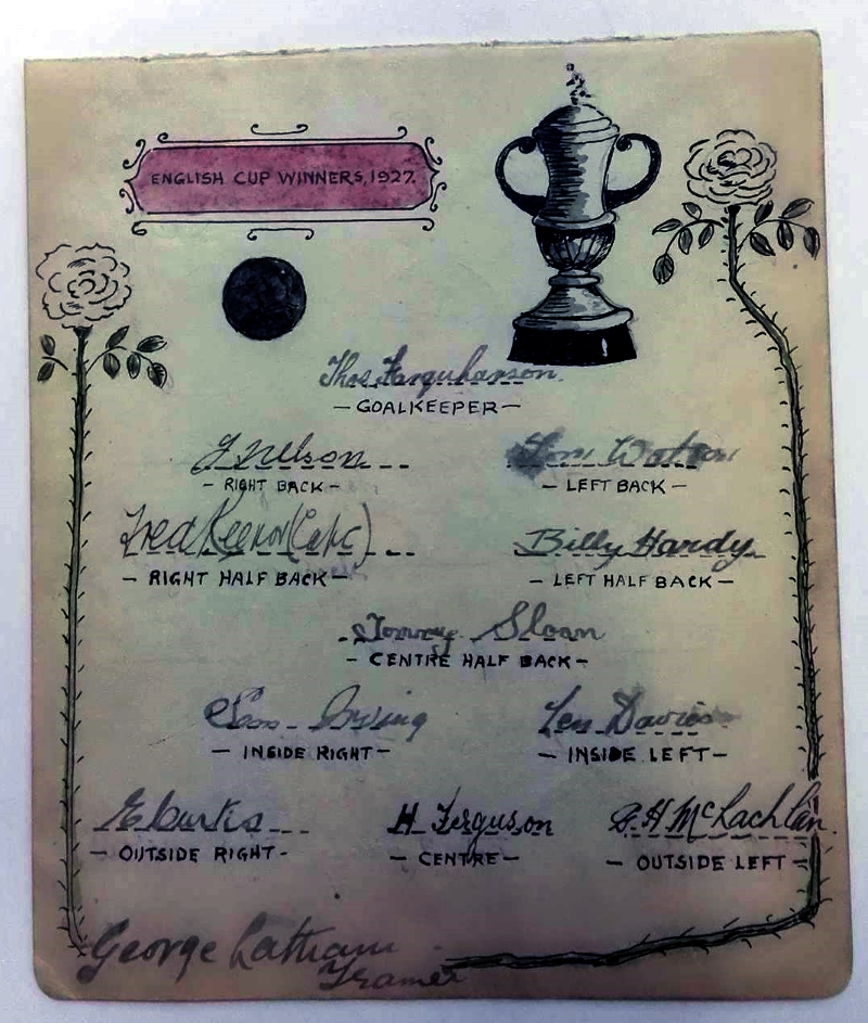 Cardiff City 1927 FA Cup Winners Autograph Card