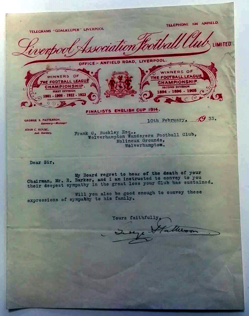 Liverpool FC Manager Signed Letterhead 1933