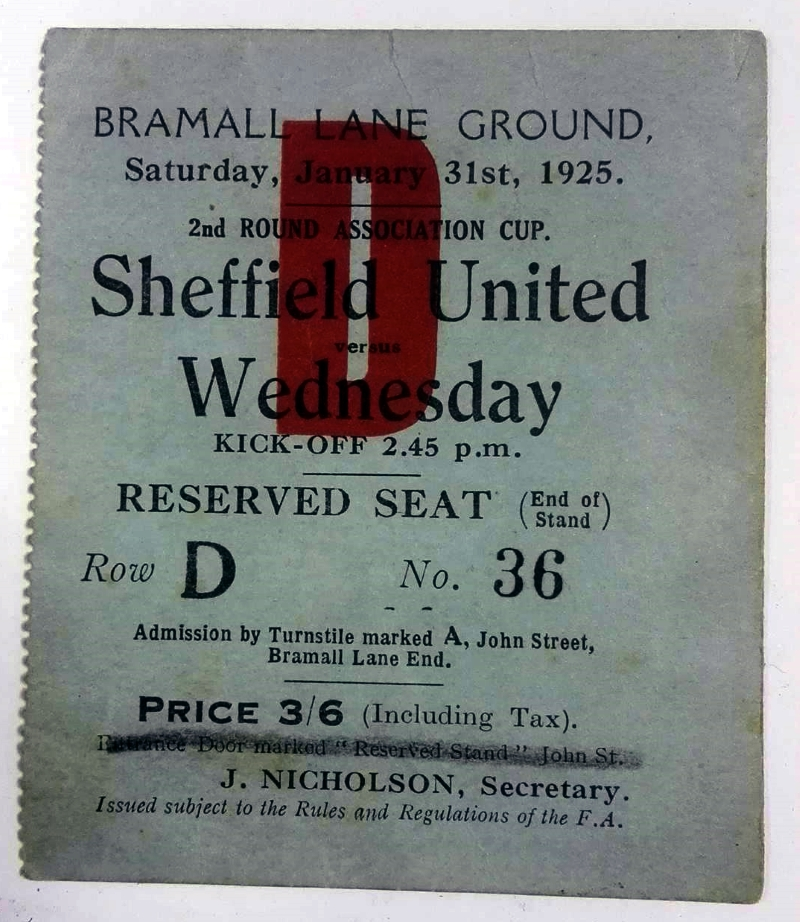 Sheffield United v Sheffield Wednesday 1925 FA Cup Ticket