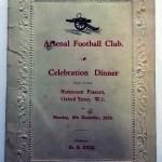 Signed Arsenal Celebration Dinner Menu December 1930 Front