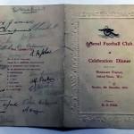 Signed Arsenal Celebration Dinner Menu December 1930 Rear