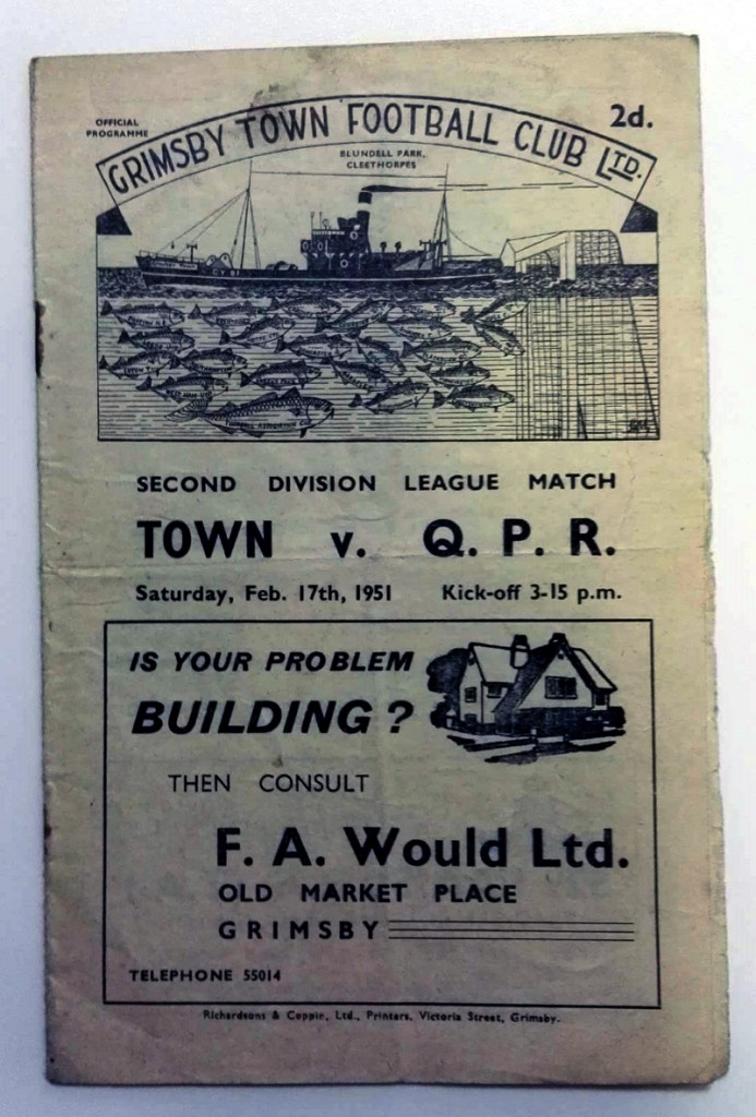 Signed Grimsby Town v QPR Programme February 1951