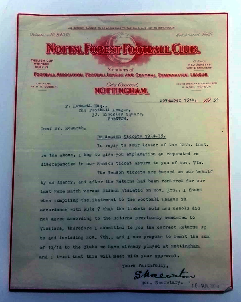 Signed Original Nottingham Forest Club Letter 1934