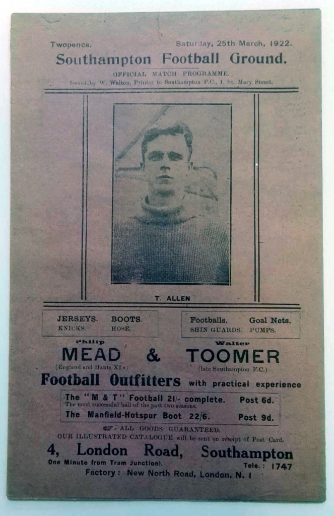 Southampton v Portsmouth March 1922 Programme