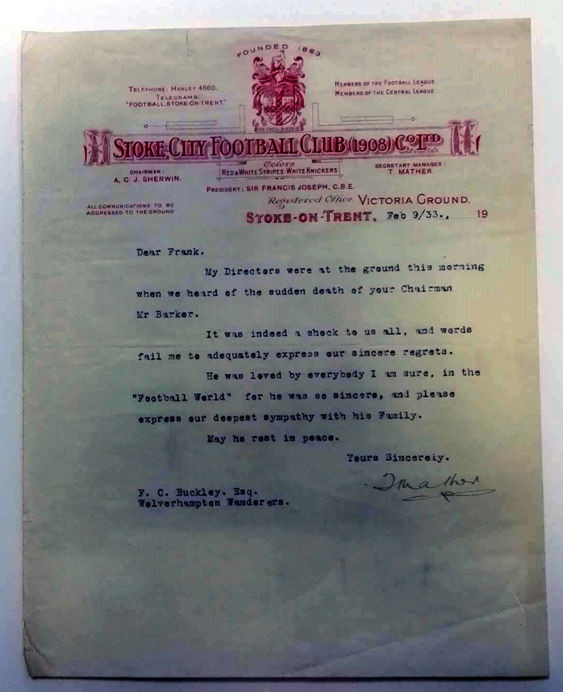 Stoke City FC Signed Letterhead 1933