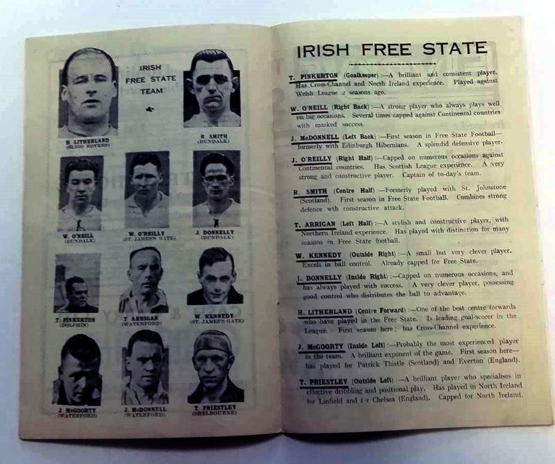 Yugoslavia vs Irish Free State March 1937 Programme