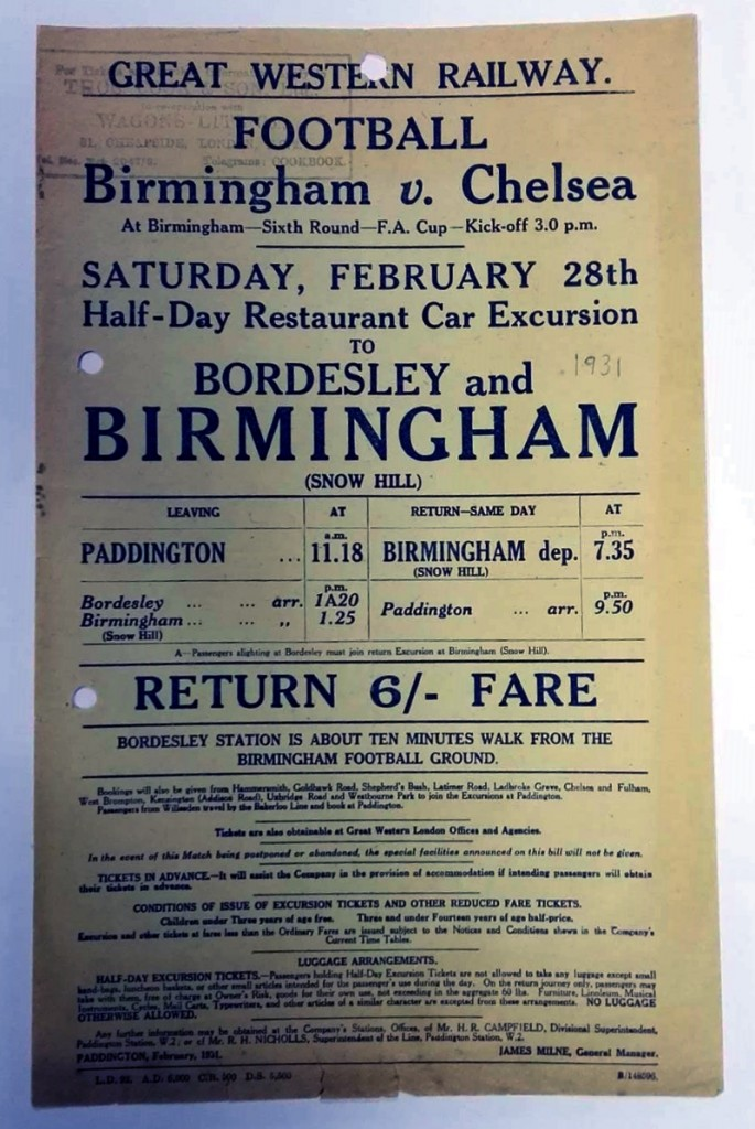 Birmingham v Chelsea 1931 Rail Excursion Poster