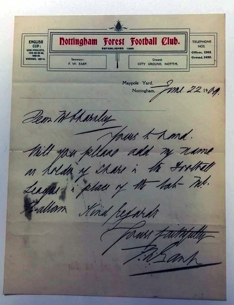 Nottingham Forest Handwritten Club Letter 1909