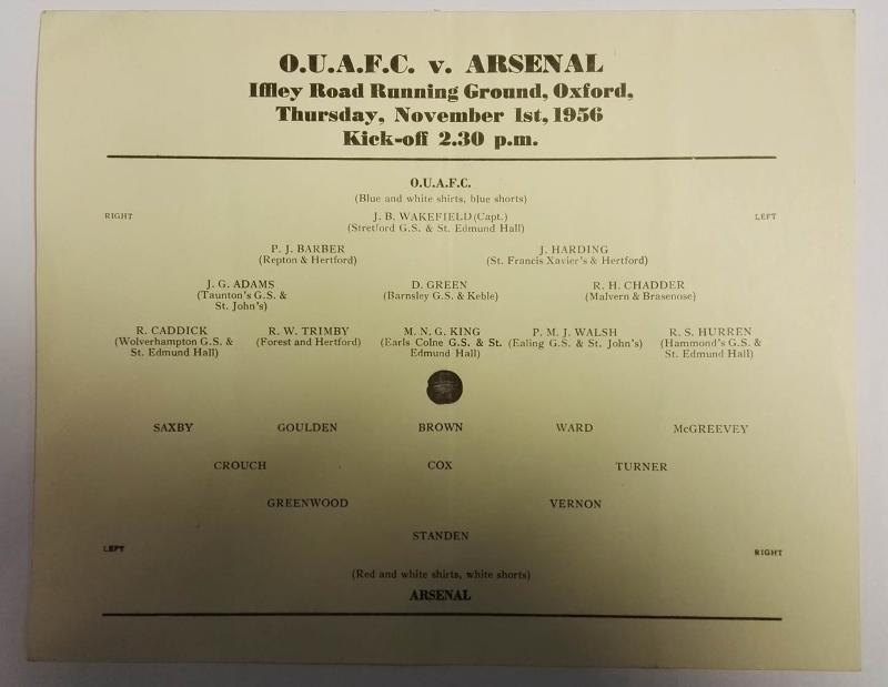 Oxford University AFC vs Arsenal Programme 1956