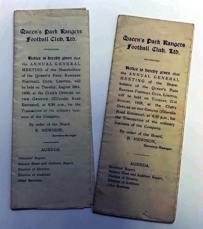 QPR AGM Agenda 1928 & 1930