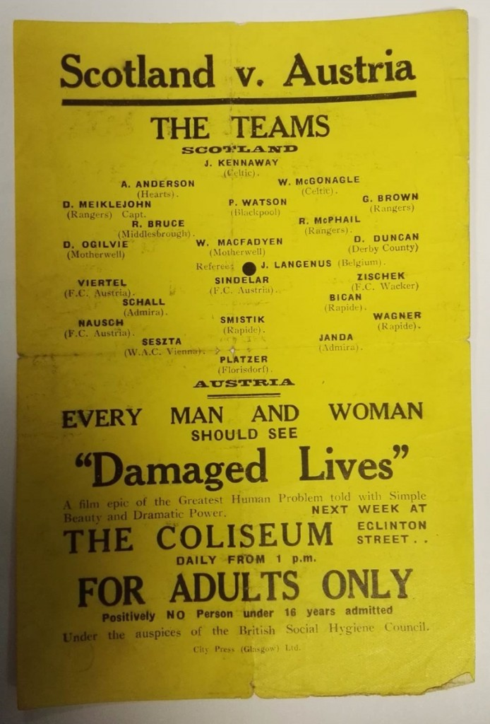 Scotland vs Austria November 1933 Teamsheet