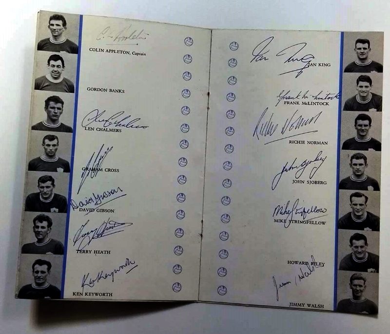 Signed Leicester City Dinner Menu FA Cup 1963