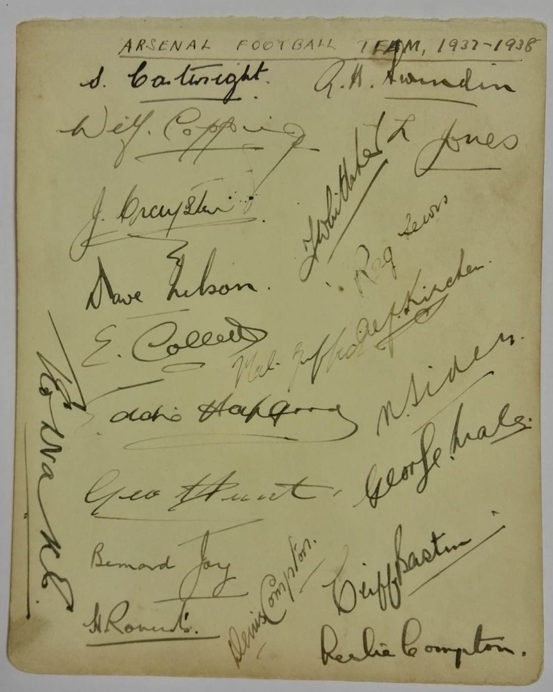 Arsenal FC 1937/38 Autograph Card