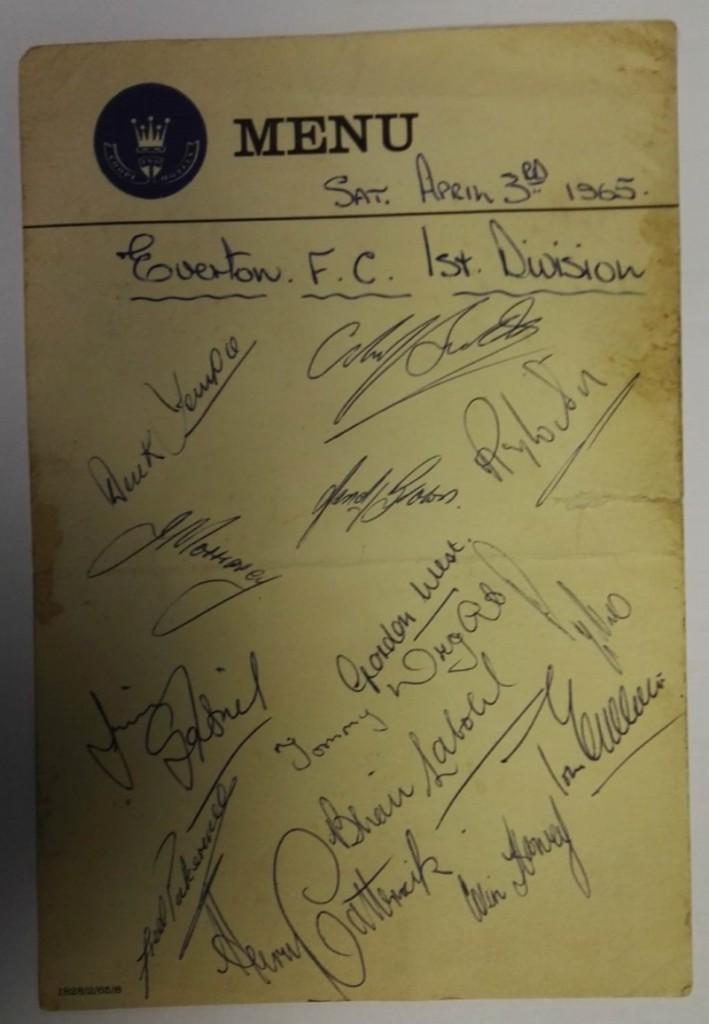 Everton vs Leicester City April 1965 Signed Menu